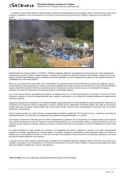 Reinstalan bloqueo carretero en Chiapas