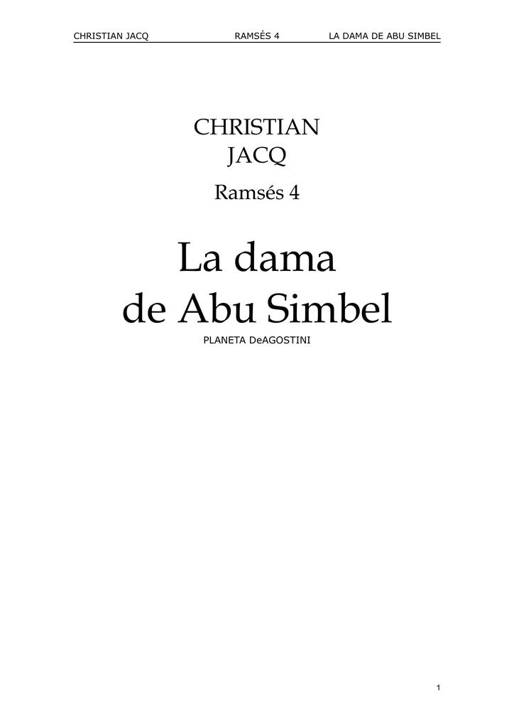 Ramsés 04 La Dama de Abu Simel