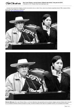 Don Juan Chávez, voz de la tierra, falleció esta tarde,...