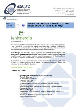 Programa del Curso de Agente Energético y formulario de inscripción