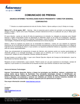 COMUNICADO DE PRENSA  ANUNCIA INTERMEC TECHNOLOGIES NUEVO PRESIDENTE Y DIRECTOR GENERAL CORPORATIVO
