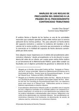 ANÁLISIS DE LAS REGLAS DE PRECLUSIÓN DEL DERECHO A LA CONTENCIOSO TRIBUTARIO