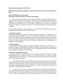 Disposiciones complementarias al Articulo 43