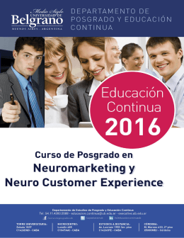 Curso de Posgrado en Neuromarketing y Neuro Customer Experience - Intensivo