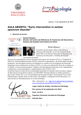 "AULA ABIERTA: ""Early intervention in autism spectrum disorder"""