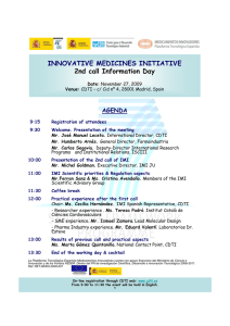 INNOVATIVE MEDICINES INITIATIVE 2nd call Information Day AGENDA