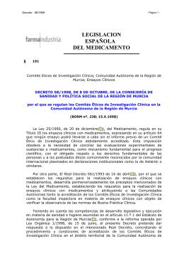 Decreto 58/98, de 8 de octubre de 1998, por el que se regulan los Comités Éticos de Investigación Clínica en la CCAA de la Región de Murcia