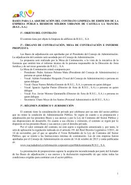 BASES LICITACIÓN LIMPIEZA CENTROS DE TRABAJO DE RSU,SA