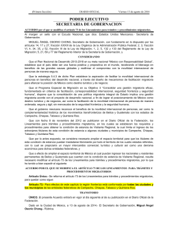 Acuerdo por el que se modifica el artículo 73 de los Lineamientos para trámites y procedimientos migratorios