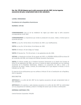 Decreto No. 570 - 06 - Dispone calendario para la Zafra