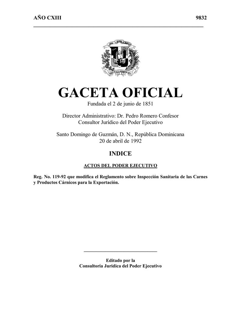 Reglamento No. 119 - 92 - De la SEAgricultura sobre exportacion
