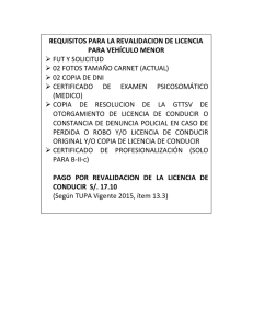 REQUISITO REVALIDACION LICENCIAS