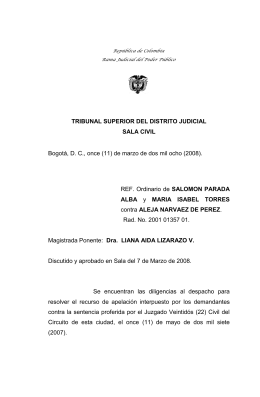 TRIBUNAL SUPERIOR DEL DISTRITO JUDICIAL SALA CIVIL ALBA