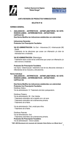 "Instituto Nacional de Higiene ""Rafael Rangel"" JUNTA REVISORA DE PRODUCTOS FARMACEUTICOS"