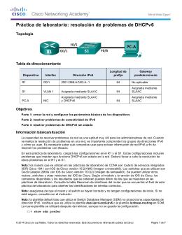Práctica de laboratorio: resolución de problemas de DHCPv6