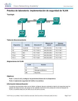 Práctica de laboratorio: implementación de seguridad de VLAN