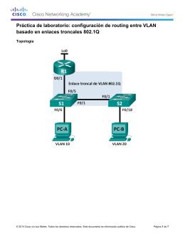 Práctica de laboratorio: configuración de routing entre VLAN basado en enlaces troncales 802.1Q