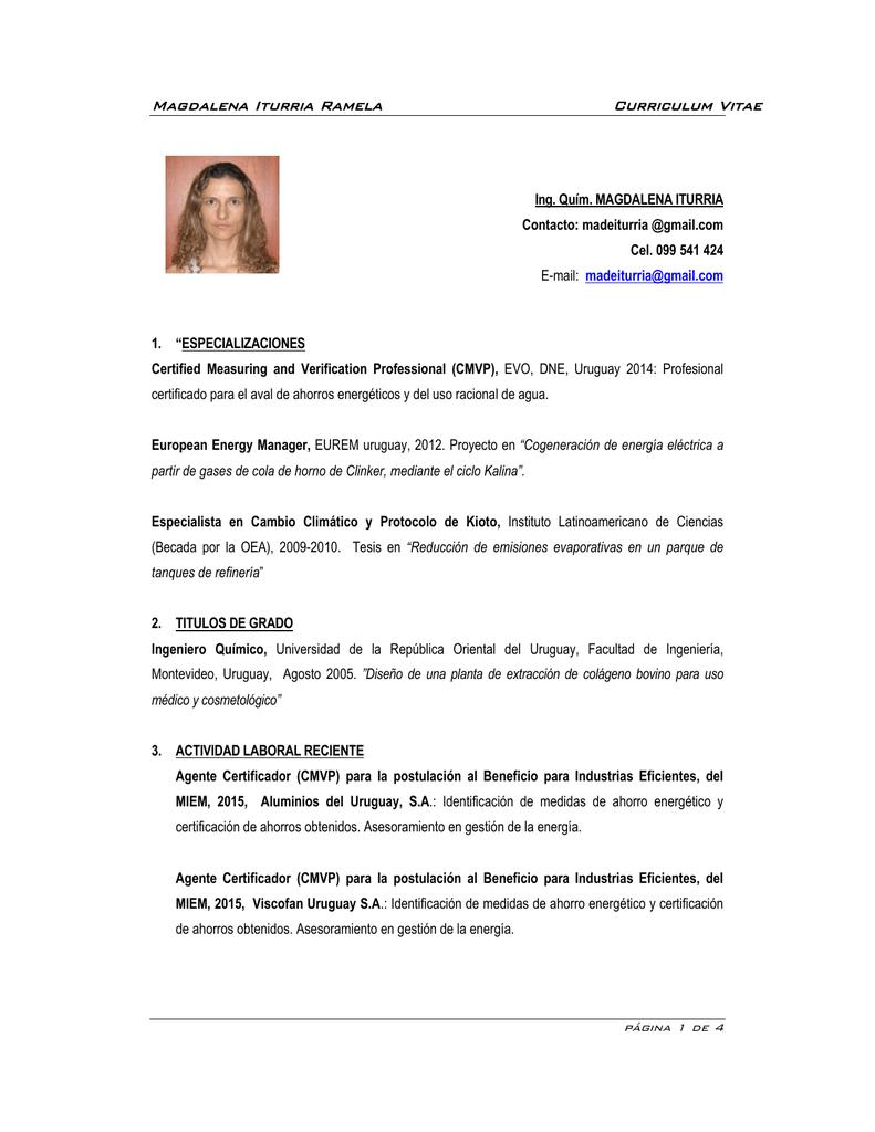 Magdalena Iturria Ramela Curriculum Vitae