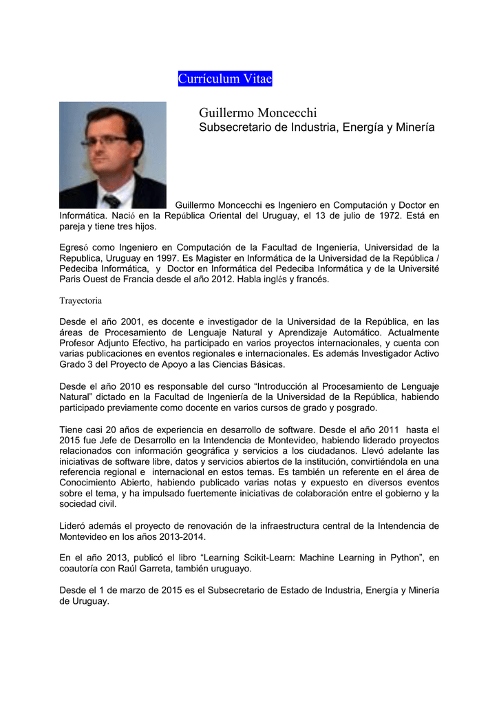 Currículum Vitae Guillermo Moncecchi Subsecretario de Industria ...
