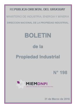 Boletín de la Propiedad Industrial N° 198