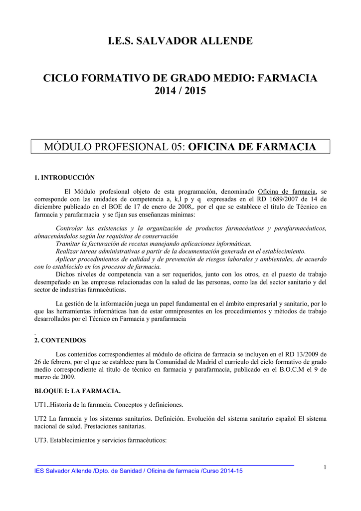 I E S Salvador Allende Ciclo Formativo De Grado Medio