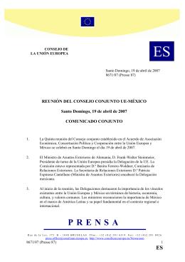 Consejo Conjunto UE-M xico - V Reuni n