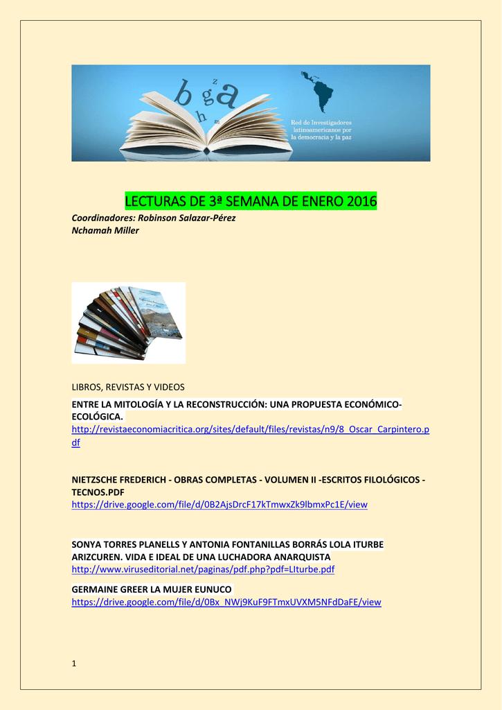 Lecturas de la Tercera Semana de Enero 2016