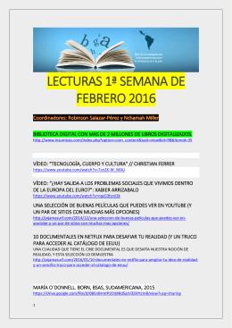 Lecturas de la Primera Semana de Febrero 2016