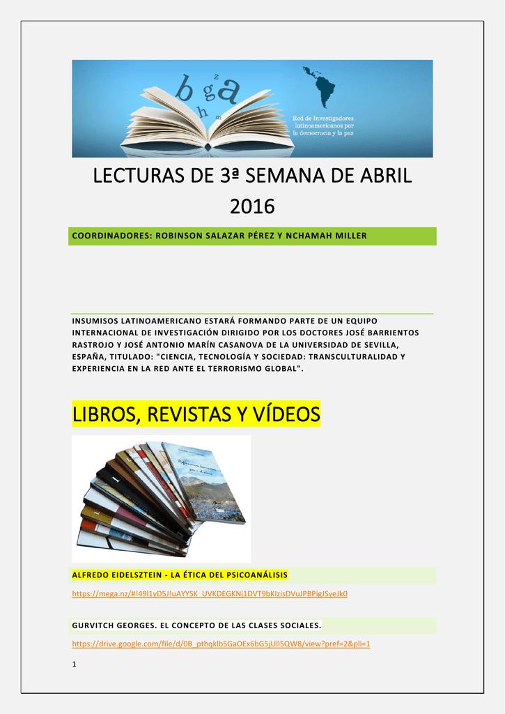 Lecturas de la Tercera Semana de Abril 2016