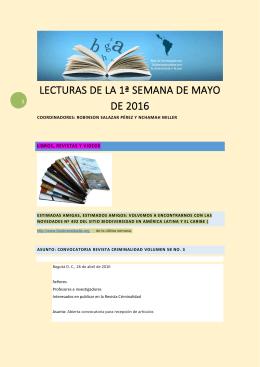 Lecturas de la Primera Semana de Mayo 2016