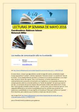 Lecturas de la Tercera Semana de Mayo 2016