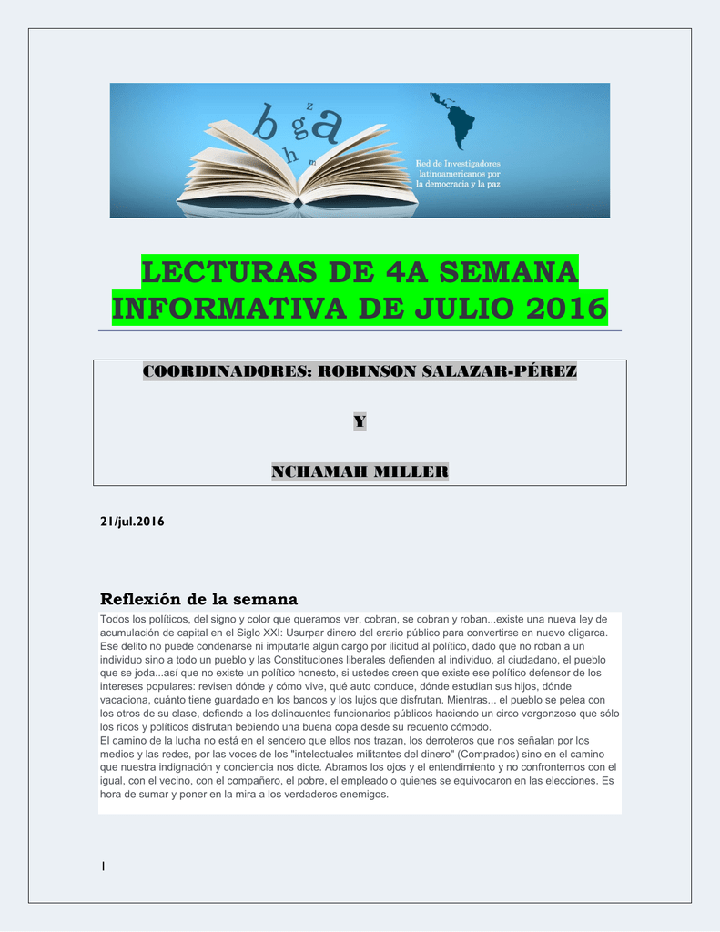 Lecturas de la Cuarta Semana de Julio 2016