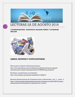 Lecturas de la Segunda Semana de Agosto 2016