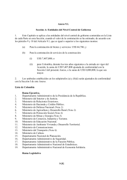 Anexo 9.1. Sección A: Entidades del Nivel Central de Gobierno  1.