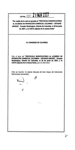 Protocolo Modificatorio al Acuerdo de Promoción Comercial Colombia - Estados Unidos