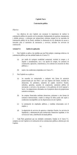 Los  objetivos  de  este  Capítulo ... contratación pública de acuerdo con los principios fundamentales de apertura,... Capítulo Nueve
