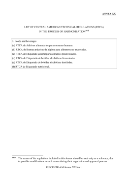 List of Central American Technical Regulations (RTCA) in the process of harmonisation