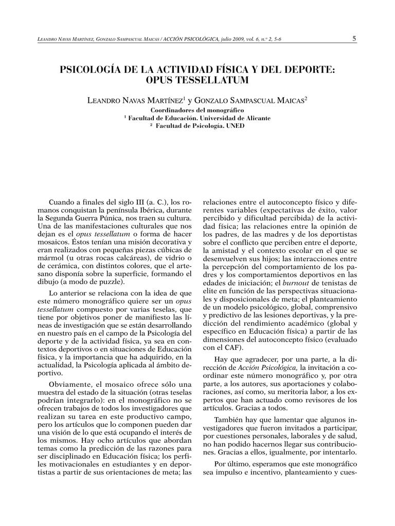 Psicología De La Actividad Física Y Del Deporte Opus