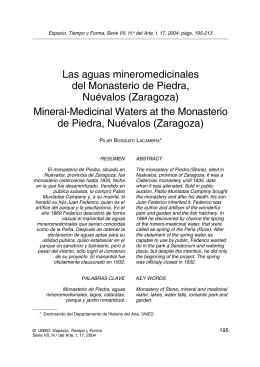 Las aguas mineromedicinales del Monasterio de Piedra, Nuévalos (Zaragoza)
