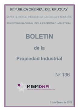 Boletin de la propiedad industrial N° 136