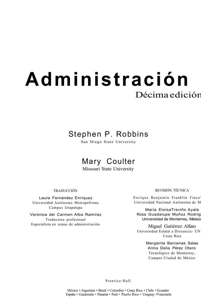 Administración Stephen Robbins y Mary Coulter