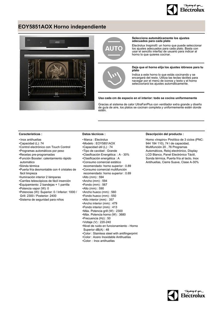 41c1b9a0bc8d EOY5851AOX Horno independiente Selecciona automáticamente los ajustes  adecuados para cada plato Electrolux Inspiro®: un horno que puede  seleccionar los ...