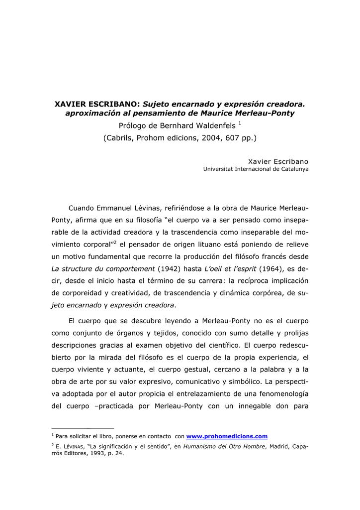 Prólogo de Bernhard Waldenfels (Cabrils, Prohom edicions, 2004, 607 pp.)