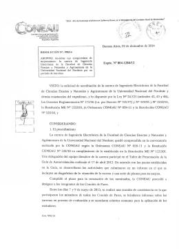 Res. N° 0998/14 CONEAU