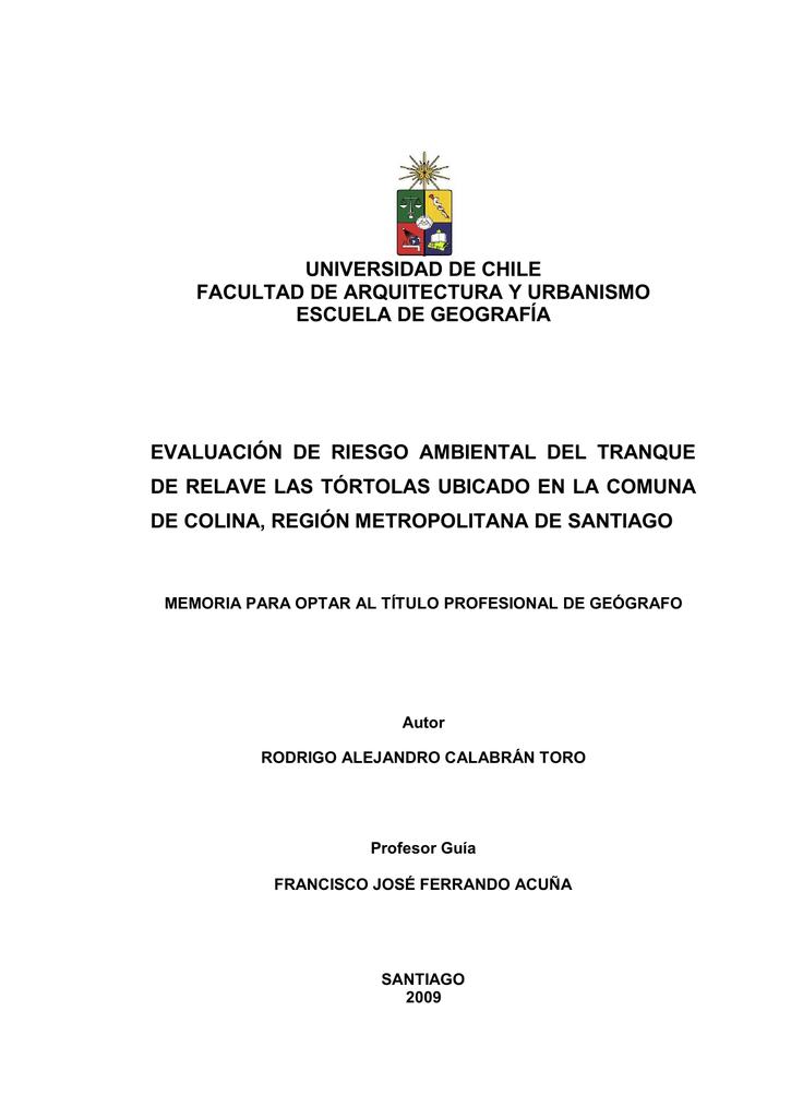 EVALUACIÓN DE RIESGO AMBIENTAL DEL TRANQUE DE RELAVE LAS TÓRTOLAS ...