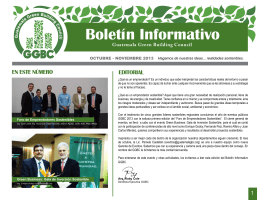 Boletín Informativo EN ESTE NÚMERO EDITORIAL Guatemala Green Building Council