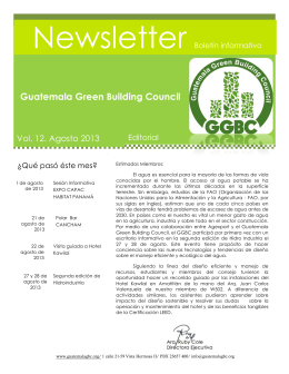 Newsletter Guatemala Green Building Council Vol. 12. Agosto 2013