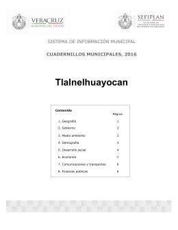 Tlalnelhuayocan SISTEMA DE INFORMACIÓN MUNICIPAL CUADERNILLOS MUNICIPALES, 2016