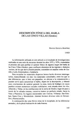 DESCRIPCIÓN FÓNICA DEL HABLA DE LAS CINCO VILLAS (Credos)