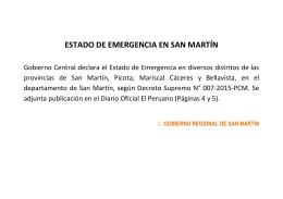 Gobierno Central declara el Estado de Emergencia en diversos distritos de las provincias de San Martín, Picota, Mariscal (2015-01-28)